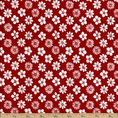 The Classic Collection Floral Cotton Fabric - White On Red - CLEARANCE