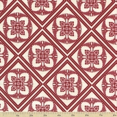 The Giving Garden Cotton Fabric - Summer Red Damask - CLEARANCE