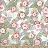 The Sweet Life Floral Cotton Fabric - White