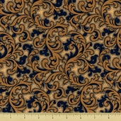The Union Forever Cotton Fabric - Scroll - Beige/Blue
