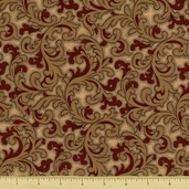 The Union Forever Cotton Fabric - Scroll - Beige/Red