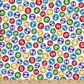 Thomas & Friends The Color Express Number Circles Cotton Fabric - White