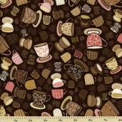 Tiana Tea Part Cotton Fabric - Toss - Chai Tea K4131-415