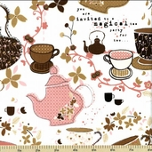 Tiana Tea Party Cotton Fabric - Tea for Two - Chai Tea K4129-415
