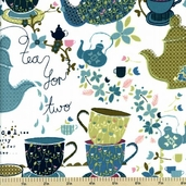 Tiana Tea Party Cotton Fabric - Tea for Two - London K4129-242