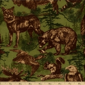 Timber Lodge Cotton Flannel Fabric - Nature AKQF-12622-268