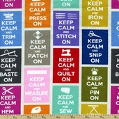 Timeless Treasures Keep Calm Cotton Fabric - Multi SEW-C9601