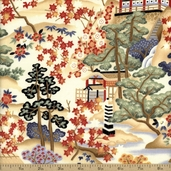Timeless Treasures Lotus Scenic Cotton Fabric - Ecru