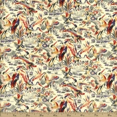 Timeless Treasures Lotus Swan Cotton Fabric - Ecru