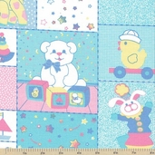 Tiny Toys Nursery Animal Cotton Fabric - Clearance