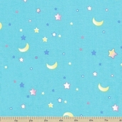 Tiny Toys Stars Cotton Fabric - Blue
