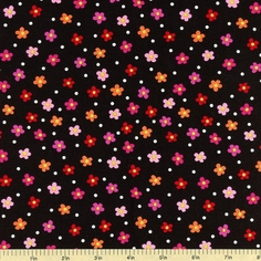 Tippy Toes Cotton Fabric Floral - Black