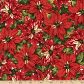 'Tis the Season Packed Poinsettia Cotton Fabric - Red