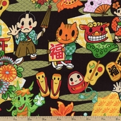 Tomodachi Characters Cotton Fabric - Black TOMO-00780 - Clearance