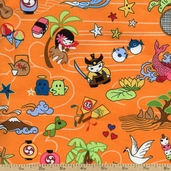 Tomodachi Characters Cotton Fabric - Orange TOMO-00781 - Clearance