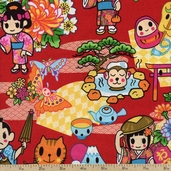 Tomodachi Characters Cotton Fabric - Red TOMO-00780 - Clearance