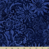 Tonga Wonderland Garden Batik Fabric - Royal Blue B7808