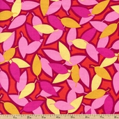Top Drawer Tossed Leaves Cotton Fabric - Red 0273191 - Clearance