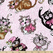 Tossed Fancy Cats Cotton Fabric - Pink