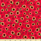 Touched By An Angel Sunflower Toss Cotton Fabric - Red