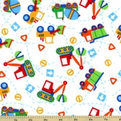 Toy Trucks Flannel Cotton Fabric White