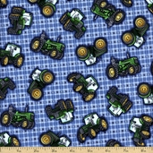 Tractor Time Cotton Fabric - Blue 1649-22605-B