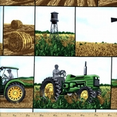 Tractor Time Cotton Fabric - Multicolor 1649-22604-G