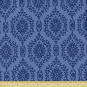 Treasures Chambray Rose Cotton Fabric - Blue 646-B