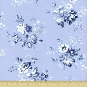 Treasures Chambray Rose Cotton Fabric - Light Blue 643-LB
