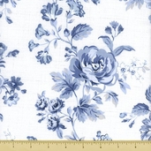 Treasures Chambray Rose Cotton Fabric - White 642-W