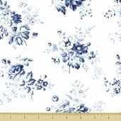 Treasures Chambray Rose Cotton Fabric - White 643-W