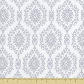 Treasures Chambray Rose Cotton Fabric - White 646-S