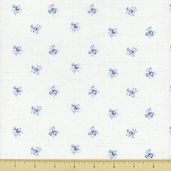 Treasures Chambray Rose Cotton Fabric - White 647-W