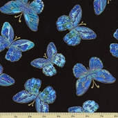 Tree of Life Cotton Fabric - Butterflies - Black CM1206