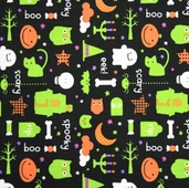 Trick or Treat Cotton Fabric - Black