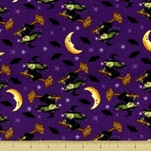 Trick or Treat Cotton Fabric - Flying Witch - Purple