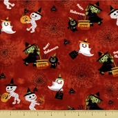 Trick or Treat Cotton Fabric - Happy Halloween - Orange
