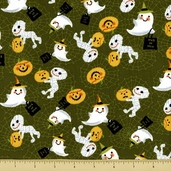 Trick or Treat Cotton Fabric - Mummies and Ghosts - Green