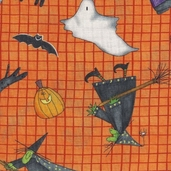 Trick-or-Treat Dreams Cotton Fabric - Orange