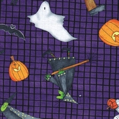 Trick-or-Treat Dreams Cotton Fabric - Purple