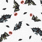 Trick-or-Treat Street Cotton Fabric - White - CLEARANCE