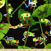 Tropic Rainforest Frogs Cotton Fabric - Black