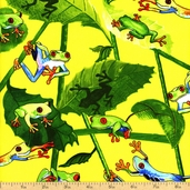 Tropic Rainforest Frogs Cotton Fabric - Yellow