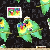 Tropic Rainforest II Love Birds Cotton Fabric - Black
