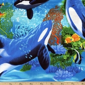 Tropical Whales Cotton Fabric - Blue MICHAEL-C9812