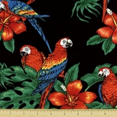 Tropicals and Conversationals Fabric Collections - Black BBKC-818-4
