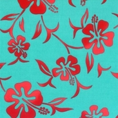 Tropicals and Conversationals Fabric Collections - Hibiscus Aqua Blue