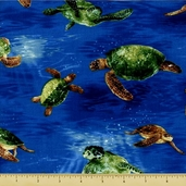 Tropicals and Conversationals Fabric Collections - Turtle - Royal G377-18