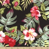 Tropicals and Conversationals Palms Cotton Fabric - Black