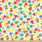 Turtle Time Dot Flannel Fabric - White